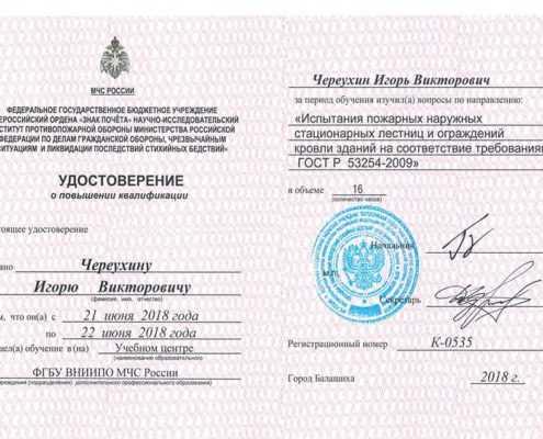 Удостоверение - Череухин Игорь Викторович